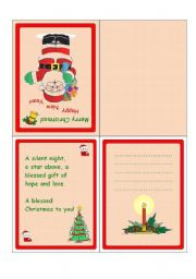 English Worksheet: Christmas cards with messages 3-5