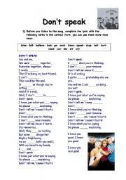 English Worksheet: DON´T SPEAK  BY NO DOUBT