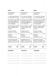 English Worksheets: Evaluating Writing Grid