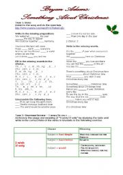 English Worksheet: Grammar Through Songs: Something About Christmas + I wish/If only