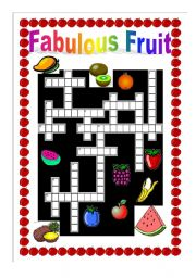 English Worksheets: Fruity Crossword + written clues + answer key