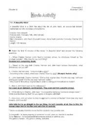 English Worksheet: Movie-Conversation class based on the Film - A Beautiful Mind (Teacher�s)