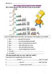 English Worksheet: What could Bart do when he was younger? CAN & COULD
