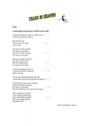 English Worksheet: tears in heaven