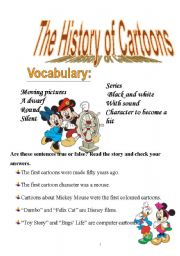 English Worksheet: THE HISTORY OF CARTOONS