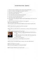 English Worksheet: The Devil Wears Prada - questions