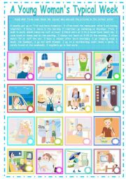 English Worksheets: Routines  : A  Young Woman�s Typical Day