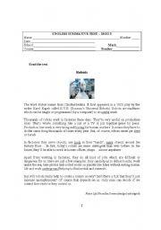 English Worksheet: English Test about Robots