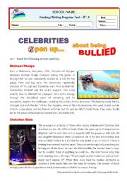 Celebrities open up about being bullied  - reading for Intermediate students