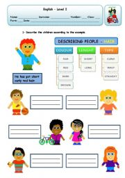 English Worksheet: DESCRIBING PEOPLE - HAIR