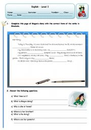 English Worksheets: MEGAN�S DIARY - PRESEN CONTINUOUS
