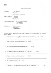 English worksheet: Joshua´saudition