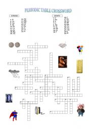 english worksheet periodic table crossword. Black Bedroom Furniture Sets. Home Design Ideas