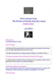 English Worksheets: Picture of Dorain Gray answer sheet (film by Lewin, Part 1)