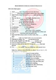English Worksheet: must/have to