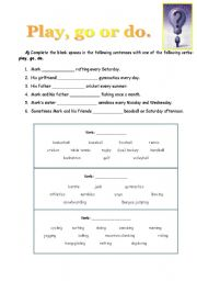 English Worksheets: play go or do