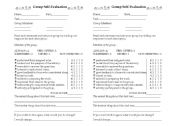 English Worksheet: group self-evaluation