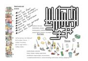 English Worksheet: room cleaning crossword and talking