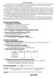 Test: Latchkey children - ESL worksheet by yunaked