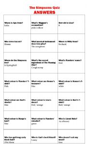 English worksheet: ANSWERS -The Simpsons Quiz
