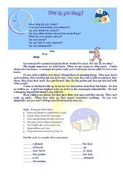 English Worksheets: Sleep