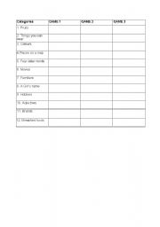 English Worksheets: Scattergories Game