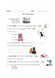 English Worksheets: Get to know your teacher!