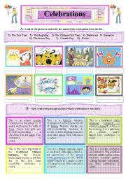 English Worksheet: A 2-Skill Worksheet : Internatioal Celebrations