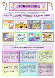 English Worksheets: A 2-Skill Worksheet : Internatioal Celebrations