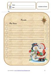 English Worksheet: A Letter to Santa