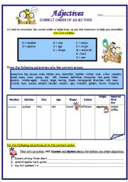 English Worksheet: Adjectives:  Correct Order  (1st of 2)