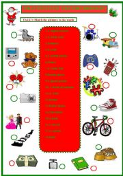 English Worksheet: Christmas presents: What would you like? (Would like +Xmas list)
