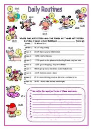 English Worksheet: Simple Present  3rd person-affirmative/negative forms