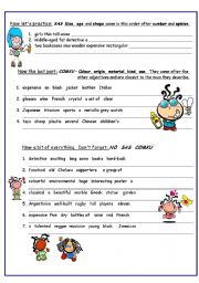 English Worksheet: Adjectives:  Correct Order  (2nd page of 2page ws)