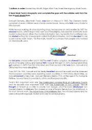 English Worksheets: Mark Twain3. Key