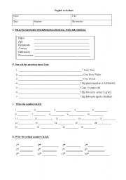 English Worksheets: identifying yourself