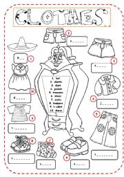 English Worksheet: Clothes. Complete the names