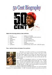English Worksheets: 50 Cent biography: vocabulary and writing activities