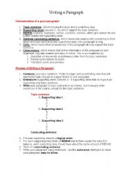 English Worksheets: How to write a good paragraph.