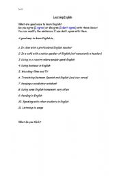English Worksheets: Good ways to learn English