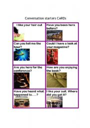 English Worksheet: Conversation starters cards