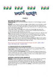 English worksheet: WORD USAGE 3