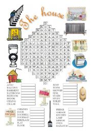 English Worksheets: The house wordsearch