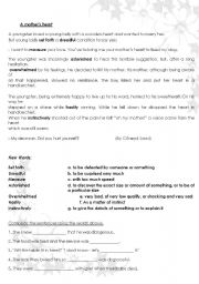 English Worksheets: a mother�s heart
