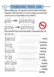English Worksheets: doubling with ing