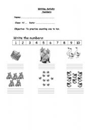 English Worksheets: Writing numbers