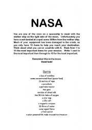 English Worksheets: Nasa