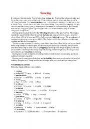 English Worksheets: Snoring with answer key