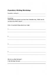 English Worksheets: Expository Writing- Pre-writing