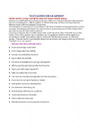 English Worksheets: Managers or leaders